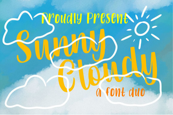 Print on Demand: Sunny Cloudy Duo Script & Handwritten Font By Flamde Studio