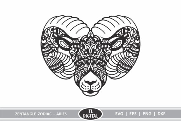 Download Free Zodiac Zentangle Aries Ram Graphic By Tl Digital Creative for Cricut Explore, Silhouette and other cutting machines.