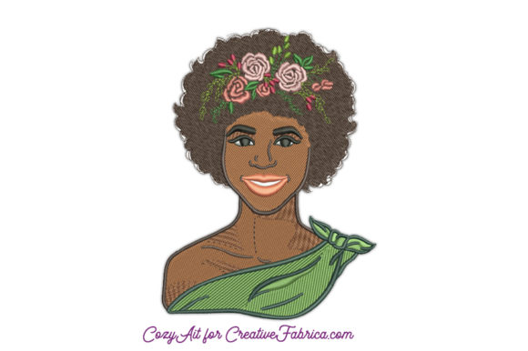 African American Woman with Flowers Beauty Embroidery Design By CozyAit