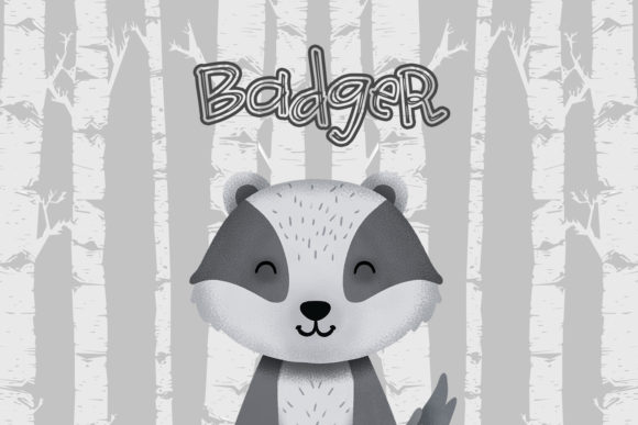 Print on Demand: Badger Nursery Art Woodland Animal Graphic Illustrations By accaliadigital