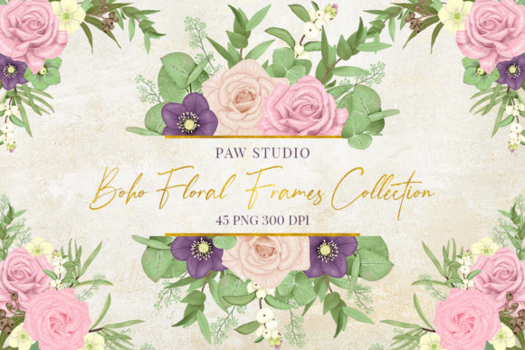Print on Demand: Boho Floral Frames Borders Wreath Clipart Graphic Illustrations By PawStudio