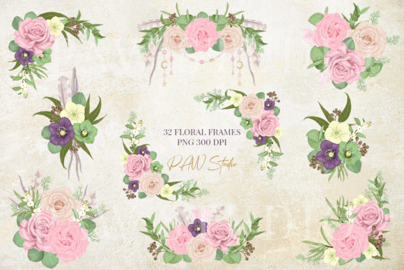 Download Free Boho Floral Frames Borders Wreath Clipart Graphic By Pawstudio for Cricut Explore, Silhouette and other cutting machines.