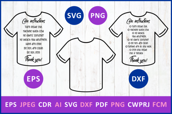 Download Free Care Instruction T Shirt Graphic By Millerzoa Creative Fabrica for Cricut Explore, Silhouette and other cutting machines.