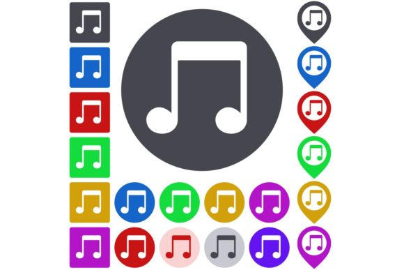 Download Free Color Flat Music Note Icon Button Set Graphic By Davidzydd for Cricut Explore, Silhouette and other cutting machines.