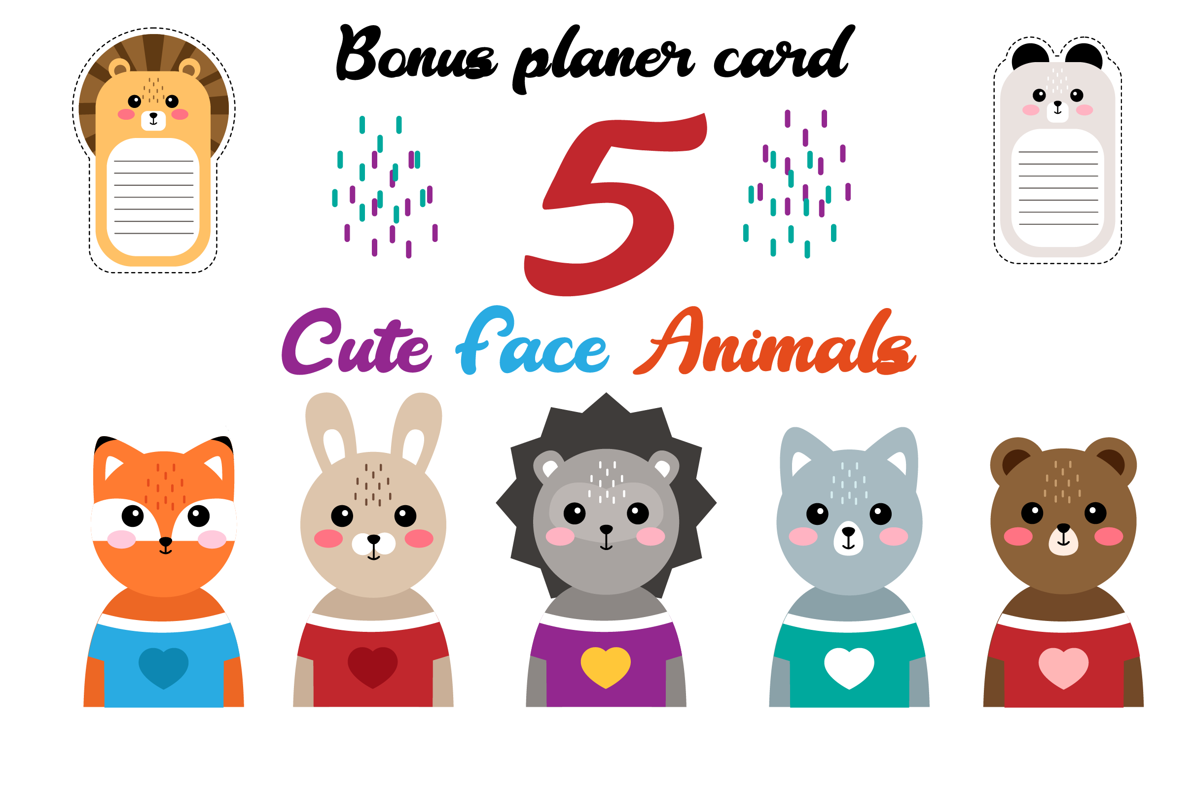 Download Free Cute Animal Face Funny Animal Heads Grafico Por Pakpahanmarg for Cricut Explore, Silhouette and other cutting machines.