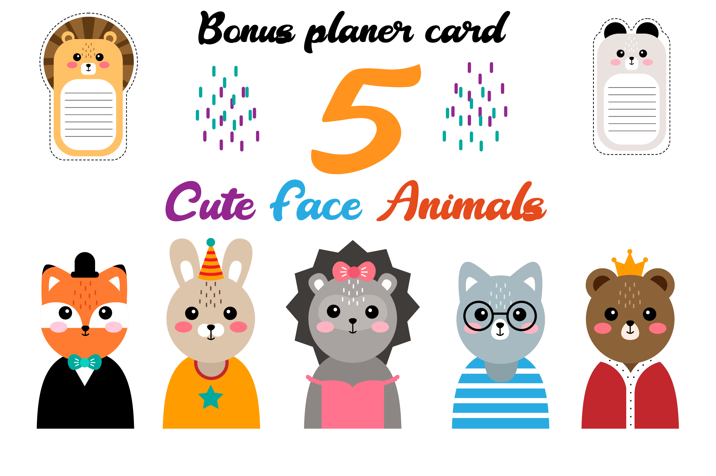 Download Free Cute Animal Faces Funny Animal Heads Graphic By Pakpahanmarg Creative Fabrica for Cricut Explore, Silhouette and other cutting machines.