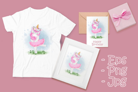 Print on Demand: Cute Unicorn Ballerina with Flower Crown Graphic Illustrations By OrchidArt