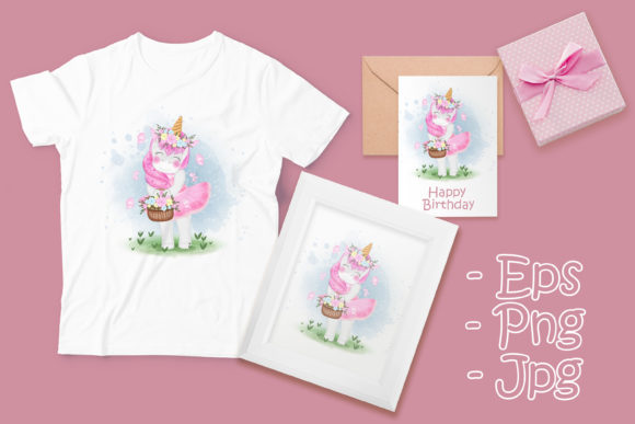 Print on Demand: Cute Unicorn with Flower Basket Graphic Illustrations By OrchidArt