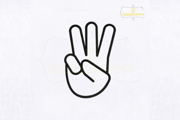 Letter W Hand Sign School & Education Embroidery Design By RoyalEmbroideries