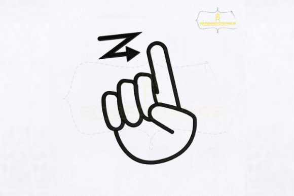 Letter Z Hand Sign School & Education Embroidery Design By RoyalEmbroideries