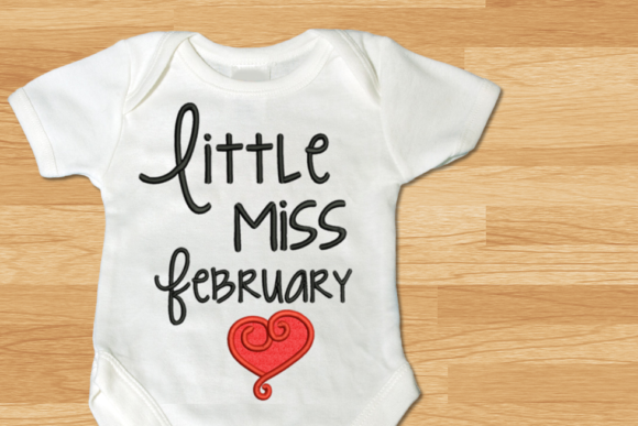 Little Miss February Heart Applique Valentine's Day Embroidery Design By DesignedByGeeks
