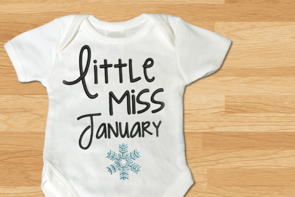 Little Miss January Snowflake Winter Embroidery Design By DesignedByGeeks