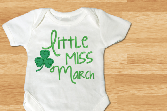 Little Miss March Clover Applique St Patrick's Day Embroidery Design By DesignedByGeeks