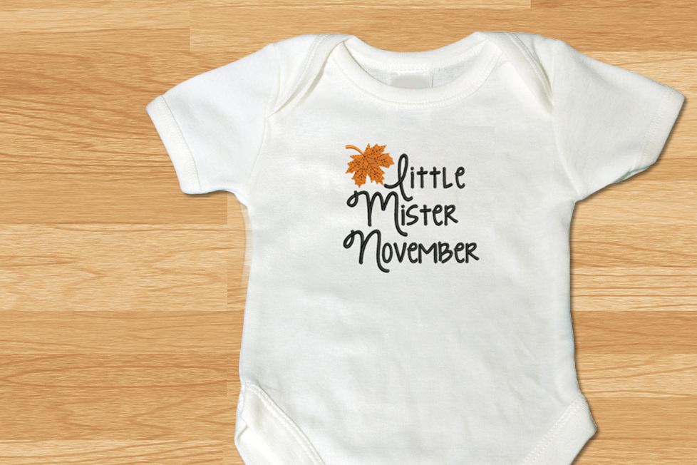 Little Mister November Leaf Applique Creative Fabrica