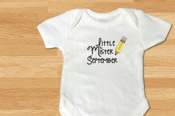 Little Mister September Pencil Applique Back to School Embroidery Design By DesignedByGeeks