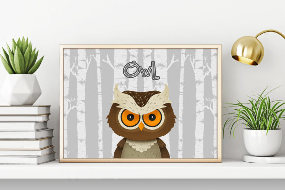 Download Free Owl Nursery Art Woodland Animal Graphic By Accaliadigital for Cricut Explore, Silhouette and other cutting machines.