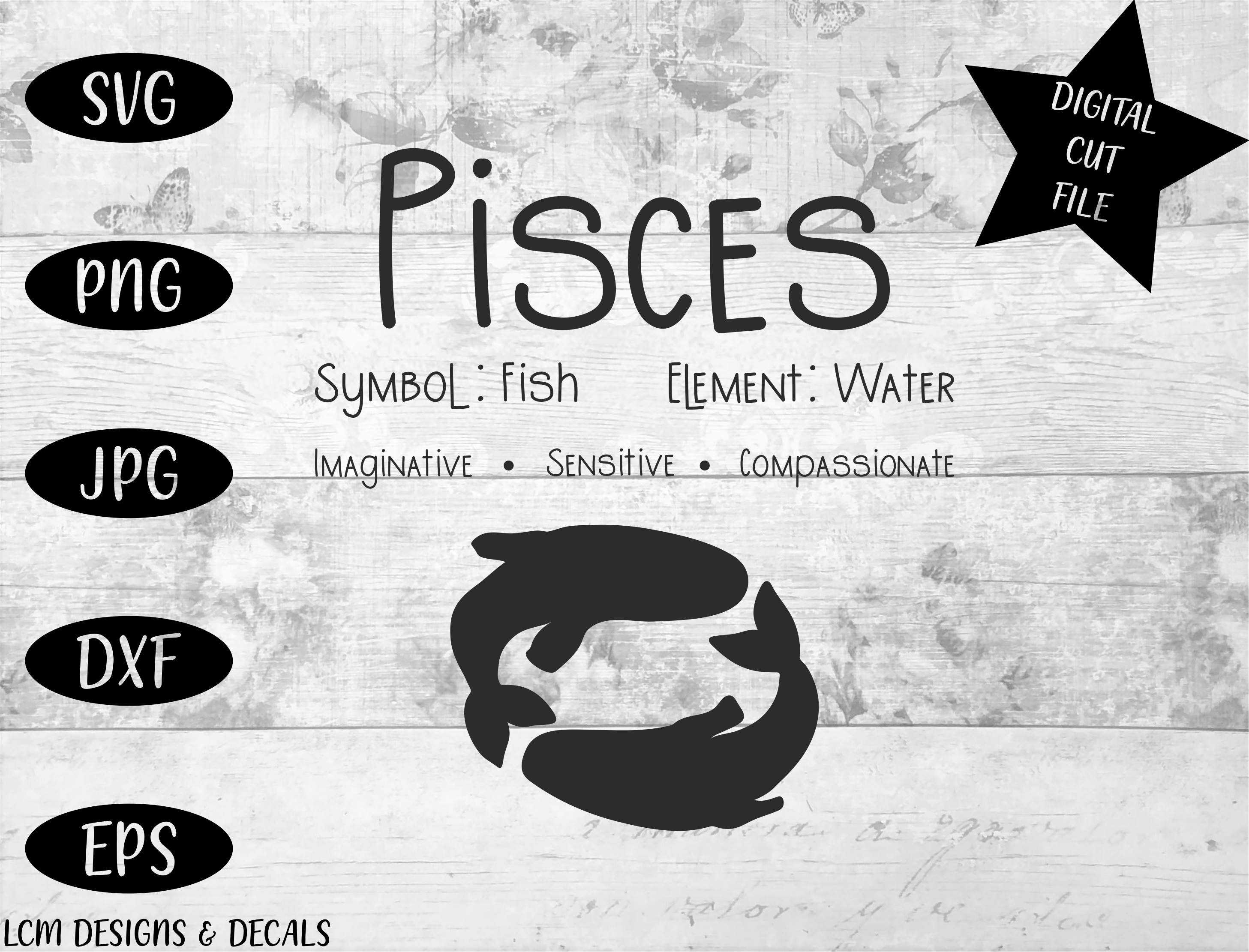 Download Free Pisces Zodiac Star Sign Astrology Graphic By Lcm Designs for Cricut Explore, Silhouette and other cutting machines.