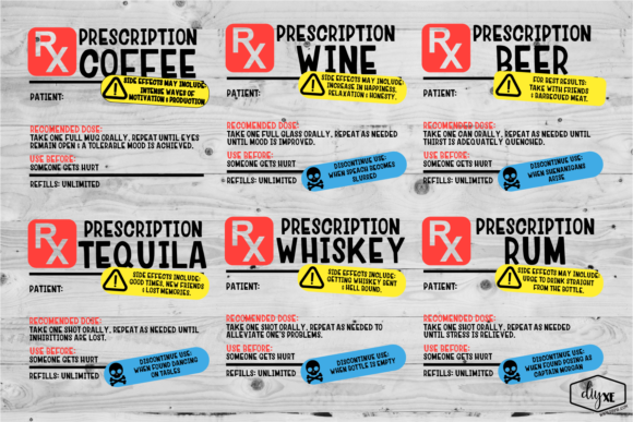 Prescription Label Sublimation Bundle Graphic Illustrations By Sheryl Holst