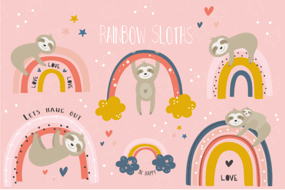 Print on Demand: Rainbow Sloths Clipart Graphic Illustrations By poppymoondesign