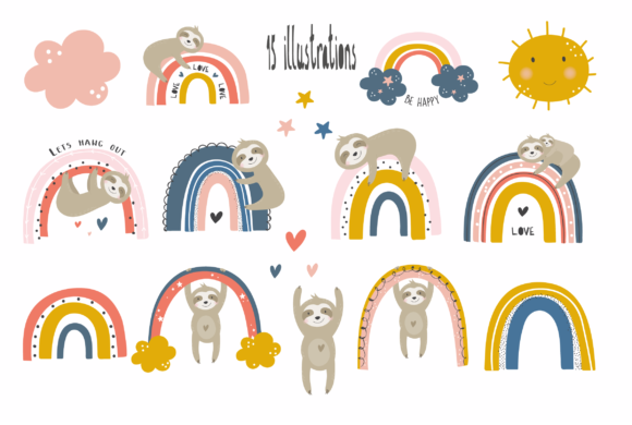 Download Free Rainbow Sloths Clipart Graphic By Poppymoondesign Creative Fabrica for Cricut Explore, Silhouette and other cutting machines.