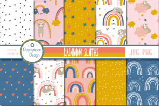 Print on Demand: Rainbow Sloths Paper Graphic Patterns By poppymoondesign