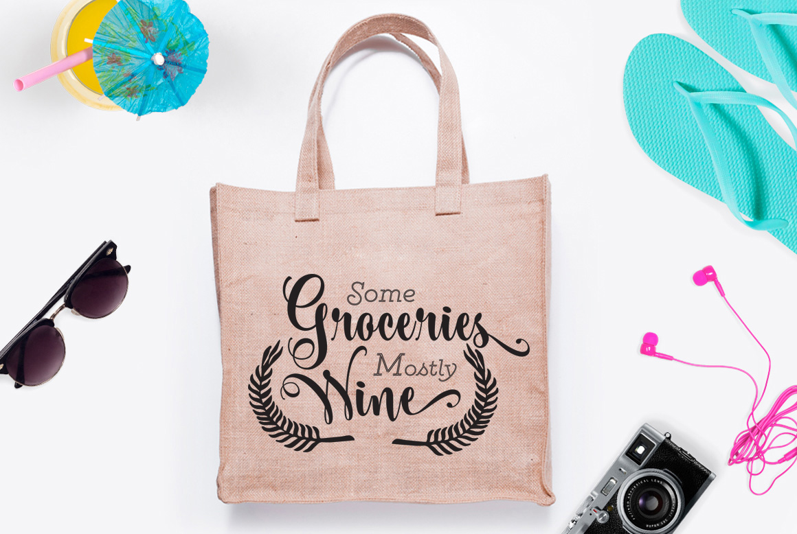 Download Free Some Groceries Mostly Wine Graphic By Nerd Mama Cut Files for Cricut Explore, Silhouette and other cutting machines.