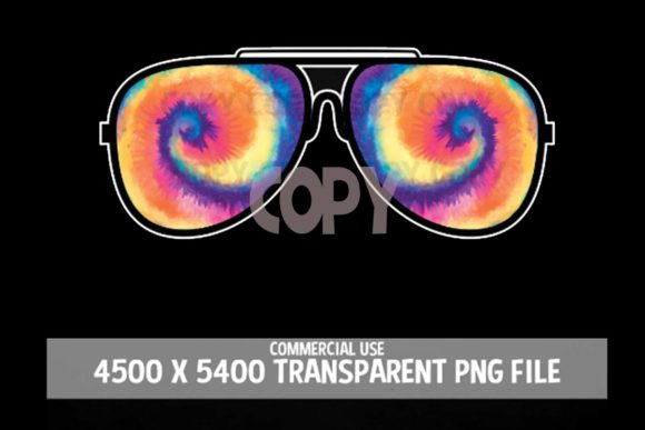 Print on Demand: Sunglasses 70s Tie Dye Rainbow Clipart Graphic Illustrations By SunandMoon