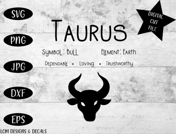 Taurus Zodiac Star Sign Astrology Graphic Illustrations By LCM Designs