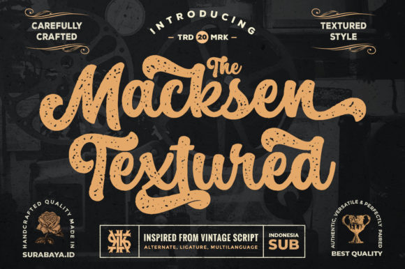 Print on Demand: The Macksen Textured Script & Handwritten Font By Kotak Kuning Studio