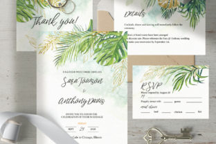 Download Free Tropical Wedding Invitation Template Graphic By Lena Dorosh for Cricut Explore, Silhouette and other cutting machines.