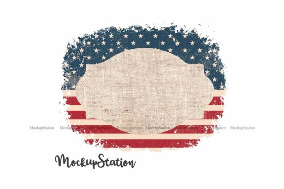 Print on Demand: USA Flag Frame Background Clip Art Graphic Backgrounds By Mockup Station