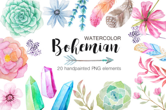 Watercolor Bohenian Nature Set Graphic Illustrations By Larysa Zabrotskaya