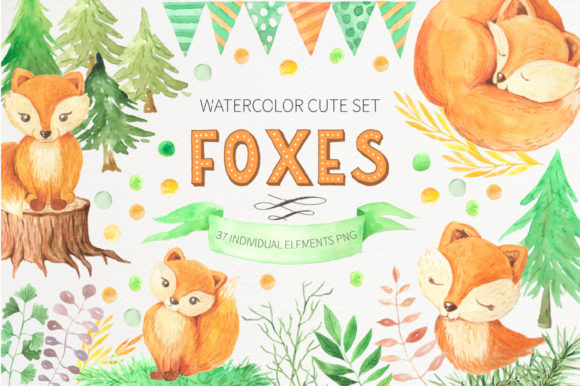 Watercolor Cute Foxes and Floral Set Graphic Illustrations By Larysa Zabrotskaya