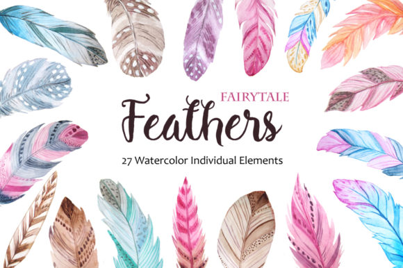 Watercolor Fairytale Feathers Set Graphic Illustrations By Larysa Zabrotskaya