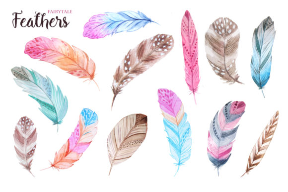Watercolor Fairytale Feathers Set Graphic Illustrations By Larysa Zabrotskaya - Image 3
