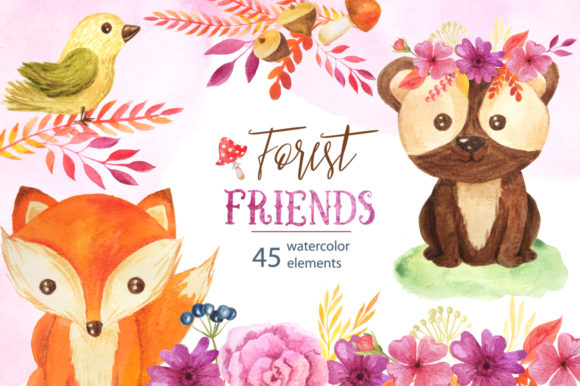 Watercolor Forest Animals Set Graphic Illustrations By Larysa Zabrotskaya