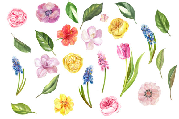Download Free Watercolor Spring Flower Clipart Graphic By Lena Dorosh for Cricut Explore, Silhouette and other cutting machines.