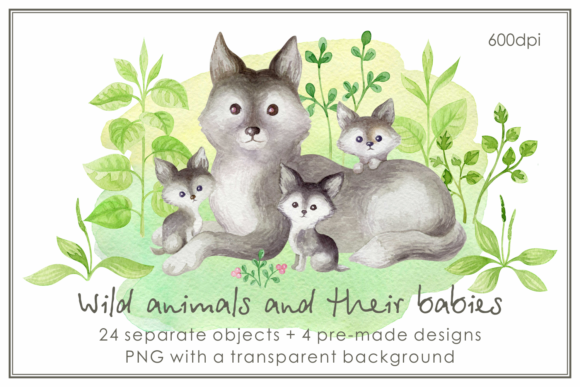Print on Demand: Wild Animals and Their Babies Graphic Illustrations By Olga Belova
