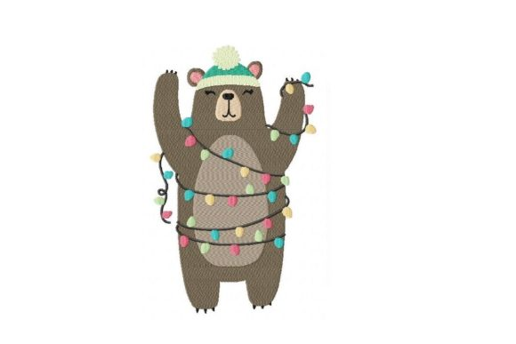 Xmas Lights Brown Bear Wild Animals Embroidery Design By Julie Dunn