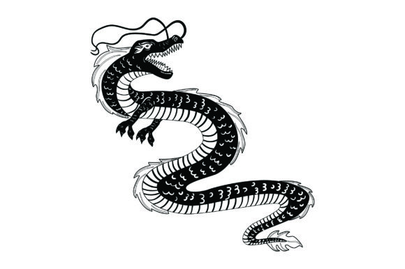 Japanese Dragon Black & White Fairy tales Craft Cut File By Creative Fabrica Crafts