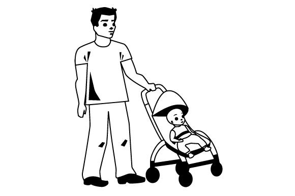 Download Free Dad With Stroller Svg Cut File By Creative Fabrica Crafts for Cricut Explore, Silhouette and other cutting machines.
