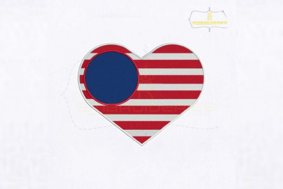 4th of July USA Flag Heart Embroidery