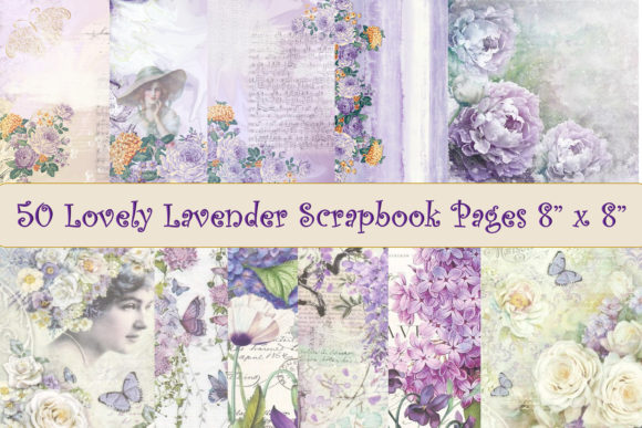 Print on Demand: 50 Scrapbook Papers Lilac and Lavender Graphic Backgrounds By The Paper Princess