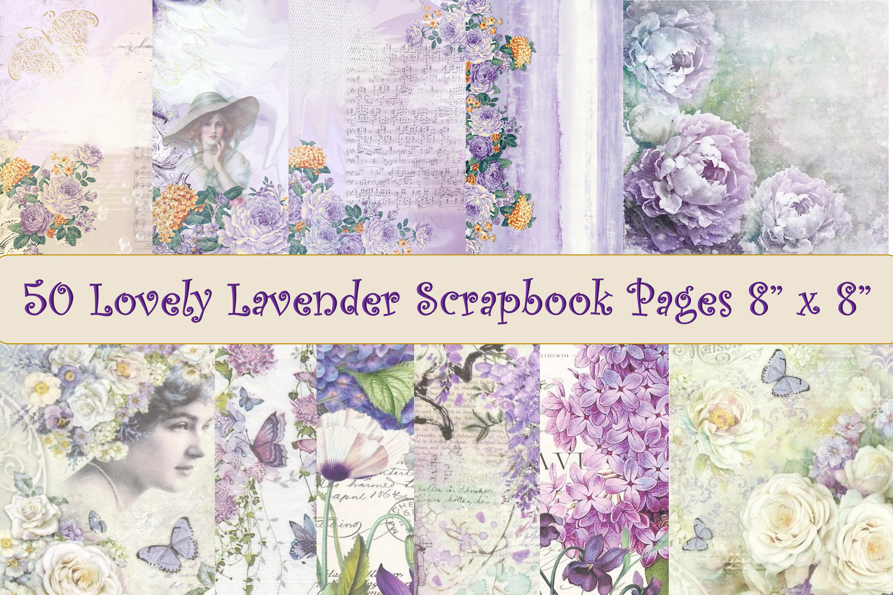 Download Free 50 Scrapbook Papers Lilac And Lavender Graphic By The Paper for Cricut Explore, Silhouette and other cutting machines.