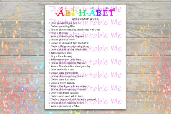 Download Free Alphabet Scavenger Hunt Kids Game Party Graphic By for Cricut Explore, Silhouette and other cutting machines.