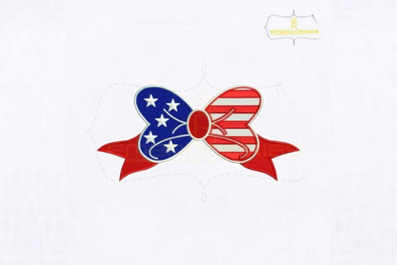 America's Independence Day Bow Embroidery