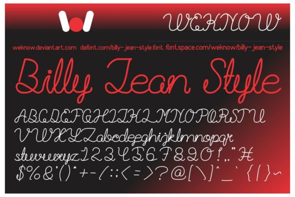 Download Free Billie Jean Font By Weknow Creative Fabrica for Cricut Explore, Silhouette and other cutting machines.