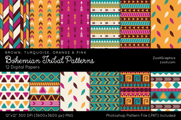 Bohemian Tribal Digital Papers Graphic Patterns By ZoollGraphics