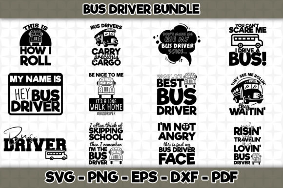Print on Demand: Bus Driver Bundle - 12 Designs Graphic Crafts By SVGExpress