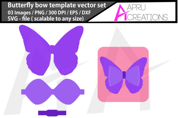 Download Free Butterfly Bow Template Graphic By Aparnastjp Creative Fabrica for Cricut Explore, Silhouette and other cutting machines.